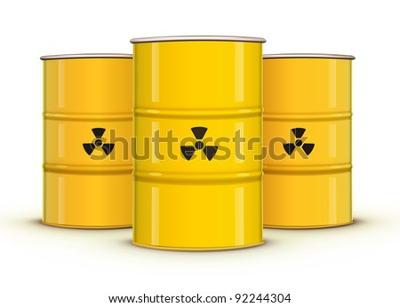 Vector illustration of yellow metal barrels with nuclear waste - stock vector