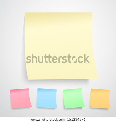 Vector illustration of yellow notes paper isolated on white background. ( all kinds of color version) - stock vector