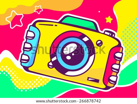 Vector illustration of yellow photo camera on a colored background with waves and stars. Hand draw line art design for web, site, advertising, banner, poster, board and print. - stock vector