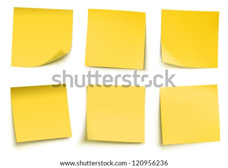 Vector illustration of yellow post it notes isolated on white background. - stock vector