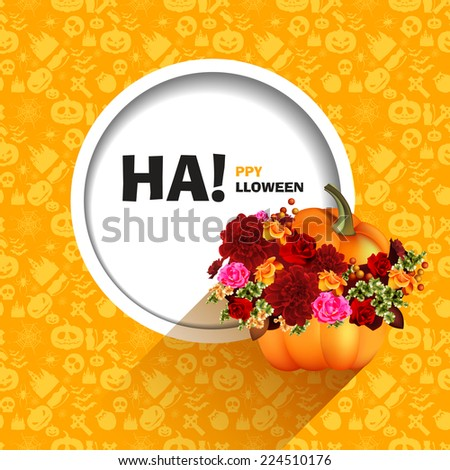 Vector illustration of yellow seamless patterns for a happy Halloween party. Pumpkin with autumn flowers. Use for brochures, printed materials, banner, greeting, card. - stock vector