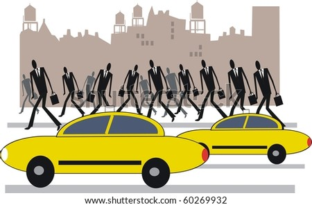 Vector illustration of yellow taxis and commuters in New York. - stock vector