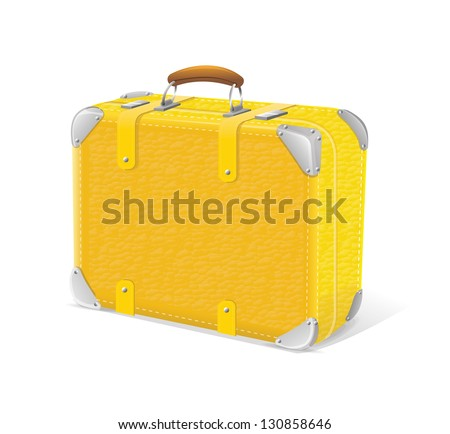 Vector illustration of yellow travel suitcase - stock vector