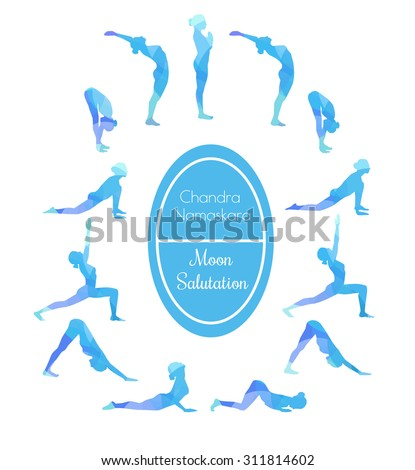 Vector illustration of yoga exercise Moon Salutation Chandra Namaskara. Bright colorful silhouettes of slim women in different yoga positions in blue dyes. - stock vector