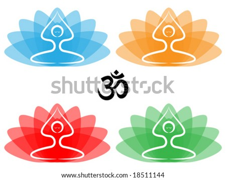 Vector illustration of yoga pose with lotus flowers and om symbol.