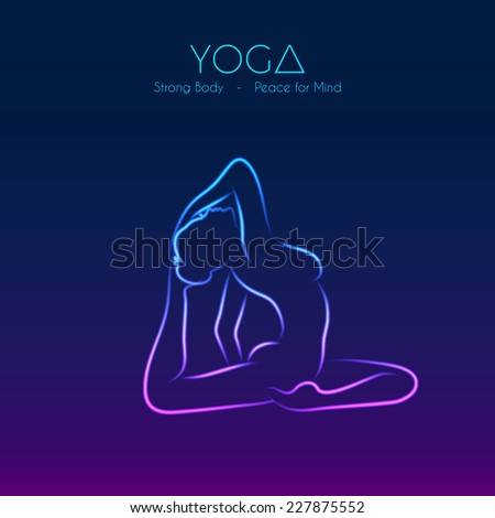 Vector illustration of Yoga pose woman's silhouette - stock vector