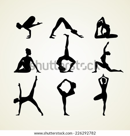 Vector illustration of Yoga poses silhouette - stock vector