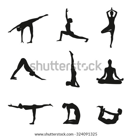 Vector Illustration Yoga Poses Silhouette Stock 324091325