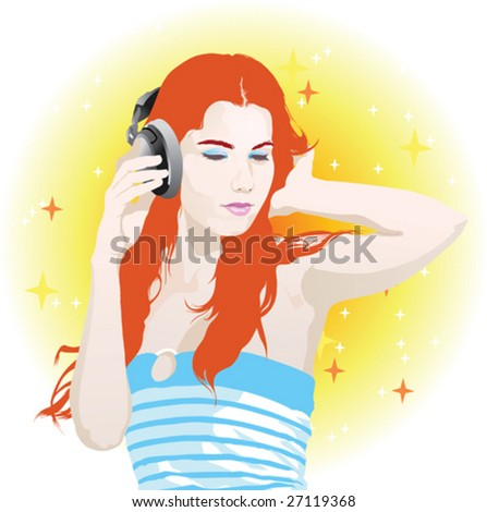Vector illustration of young beautiful woman listening music with headphones