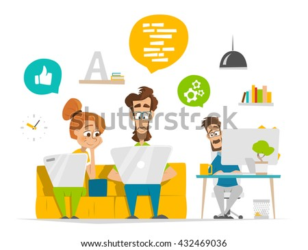 Vector illustration of young business people team working in modern contemporary office - stock vector