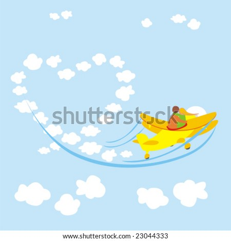 vector illustration of young couple in love flying with an airplane - stock vector