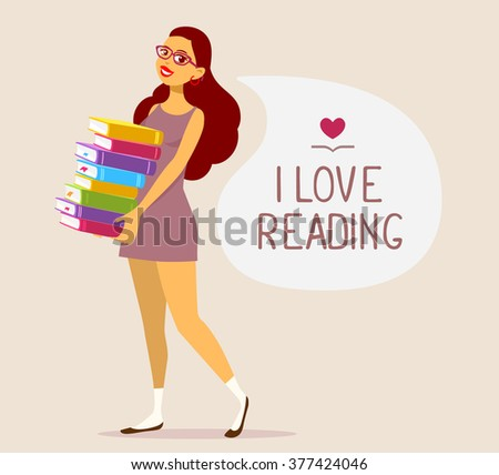 Vector illustration of young girl in dress with colorful pile of books on brown background with speech bubble.Art design for web, site, advertising, banner, poster, flyer, brochure, board, paper print - stock vector