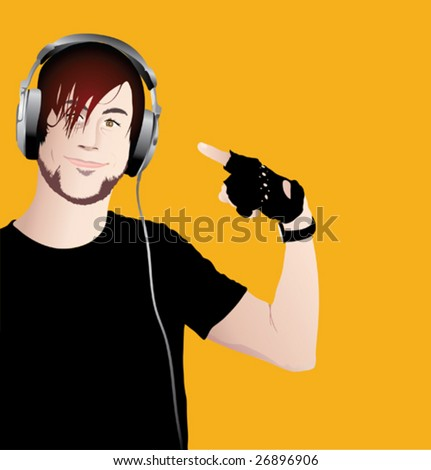 Vector illustration of young happy man with headphones - stock vector