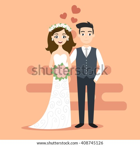 Vector illustration of young happy newlyweds bride and groom. Just married couple. Illustration for print, web. - stock vector