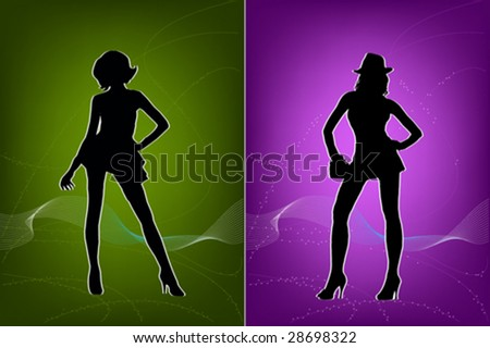 Vector Illustration of young models posing.