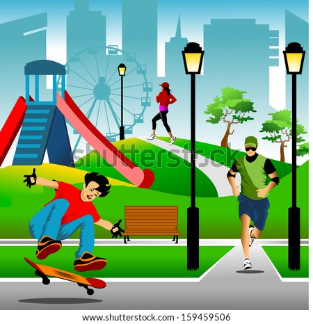vector illustration of young modern trendy people in a city park doing activities - stock vector