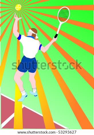 Vector illustration of young white caucasian man playing  tennis and serving . Starbust effect - stock vector