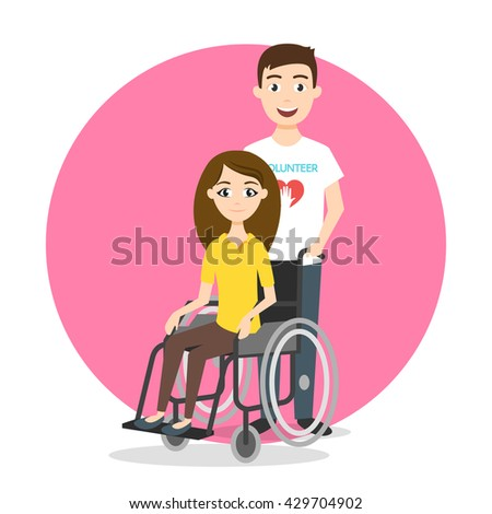 Vector illustration of young woman in wheelchair. Volunteer is taking care for disabled person. - stock vector