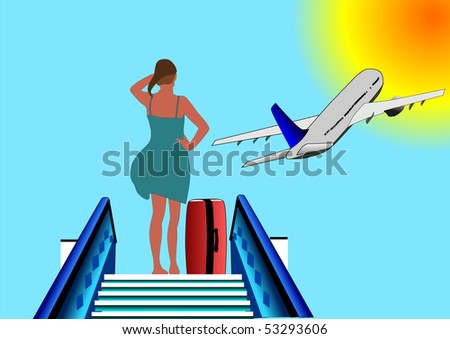Vector illustration of young woman leaving  with airplane for her vacation watching a plane taking off against the  sun - stock vector