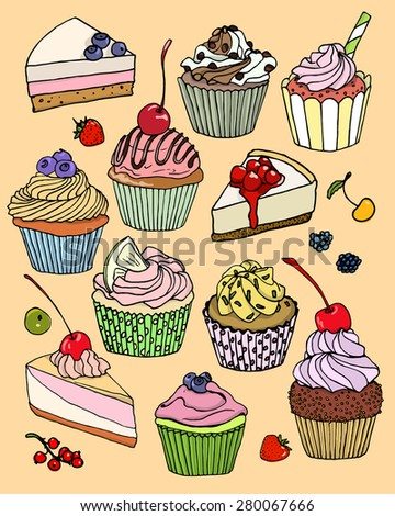 Vector illustration of yummy hand drawn desserts. Beautiful design elements for pastry shops, coffee houses, cafes or any other business related to the catering. - stock vector