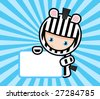 vector illustration of zebra with paper - stock photo