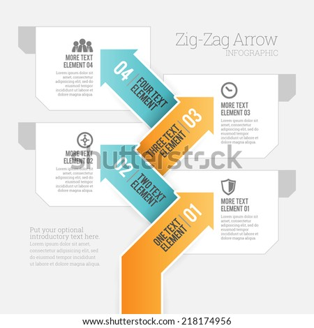 Vector illustration of zig-zag arrow infographic design element. - stock vector