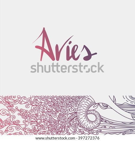 Vector illustration of zodiac sign Aries. Graphic image for the horoscope. - stock vector