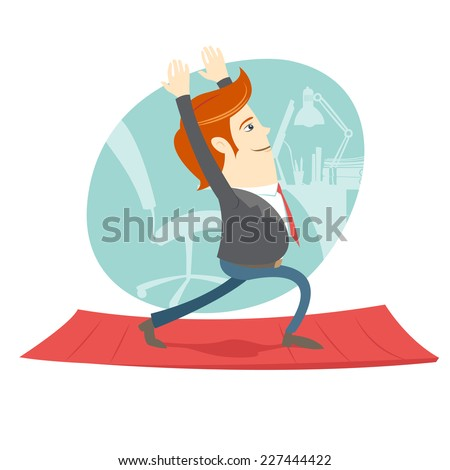 Vector illustration Office hipster man practicing warrior yoga pose near his workplace - stock vector