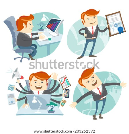 Vector Illustration Office man hipster set: showing a diploma, Happy worker, busy white collar working hard by eight hands, sitting at his desk  - stock vector