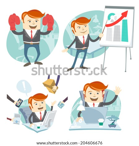 Vector Illustration Office man hipster set: showing a presentation, Happy worker at his desk, busy white collar working hard , superman with gloves - stock vector