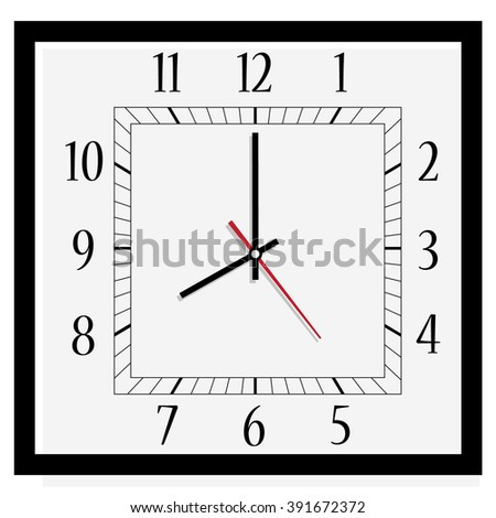 Vector illustration office square clock. Classic black and white  wall clock isolated on white. Clock on wall shows eight o'clock - stock vector