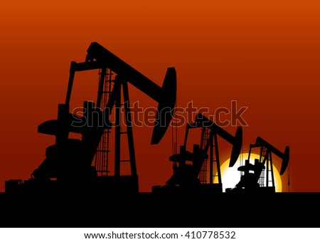 Vector illustration oil derrick released. Oil gas extraction energy business vector sunshine