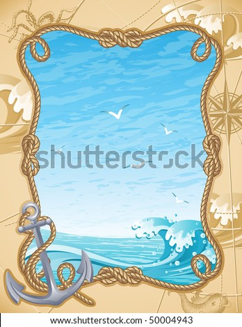 Vector illustration - old-fashioned sailing background - stock vector