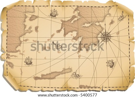 Vector illustration - old map - stock vector