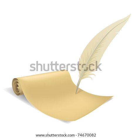 Vector illustration. Old paper scroll and feather on white background. - stock vector