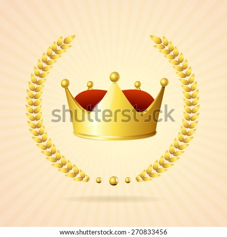 Vector illustration. Old-style. Gold royal crown isolated on a white background  - stock vector