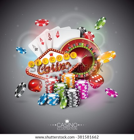 Vector illustration on a casino theme with color playing chips and poker cards on dark background. Eps 10 design. - stock vector
