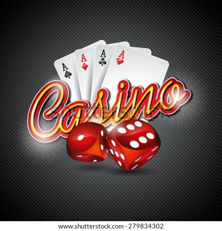 Vector illustration on a casino theme with dices and poker cards on dark background. Eps 10 design.
