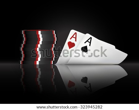 Vector illustration on a casino theme with poker symbols and poker cards on dark background for your projects, invitations, cards - stock vector