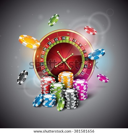 Vector illustration on a casino theme with roulette wheel and playing chips on dark background. Eps 10 design. - stock vector