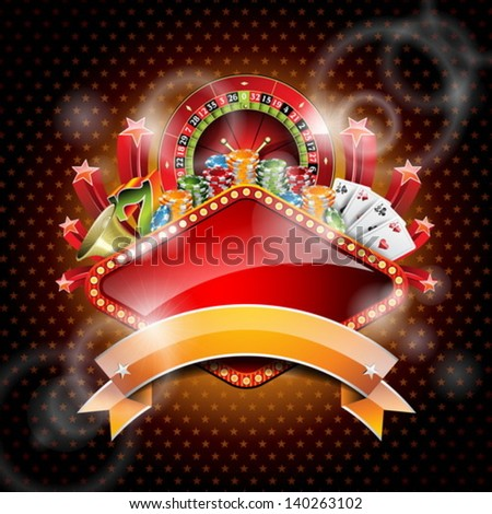 Vector illustration on a casino theme with roulette wheel and ribbon. EPS 10 design  - stock vector