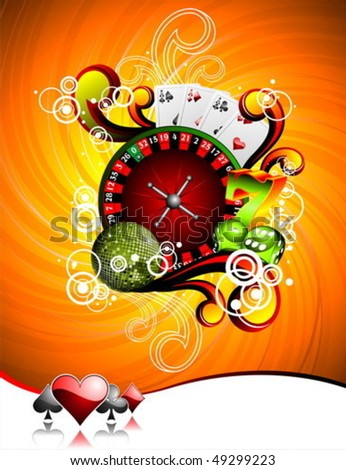 Vector illustration on a casino theme with roulette wheel, playing cards and dices. - stock vector