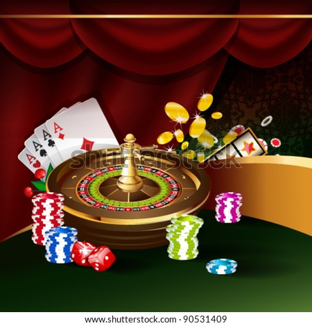 Vector illustration on a casino theme with roulette wheel, playing cards and poker chips. - stock vector