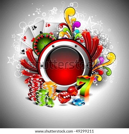 Vector illustration on a casino theme with space for your text. - stock vector