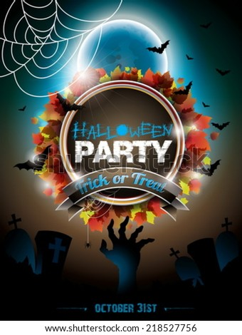 Vector illustration on a Halloween Party theme on dark background. EPS 10 illustration - stock vector