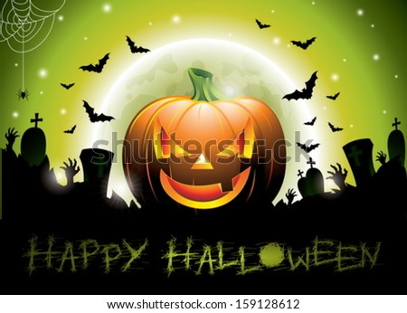 Vector illustration on a Happy Halloween theme with pumpkin. EPS 10 illustration. - stock vector