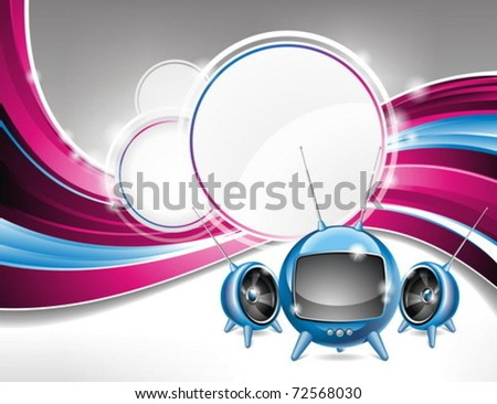 Vector illustration on a media and movie  theme with futuristic tv on abstract background design. - stock vector