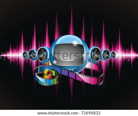 Vector illustration on a media and movie  theme with futuristic tv on abstract shiny background. - stock vector