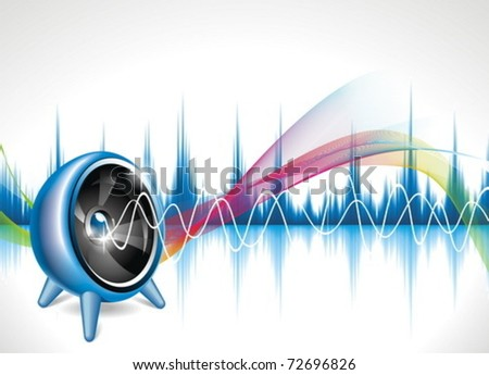 Vector illustration on a musical theme with speaker on abstract wave background. - stock vector