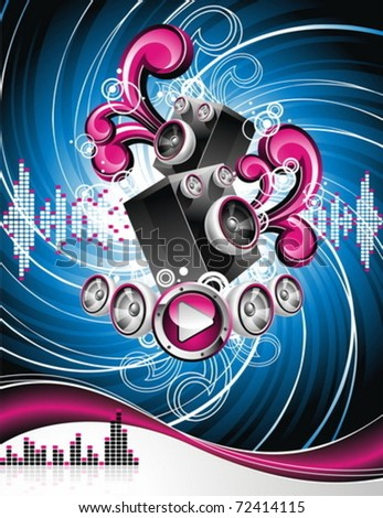 Vector illustration on a musical theme with speakers on abstract grunge background.
